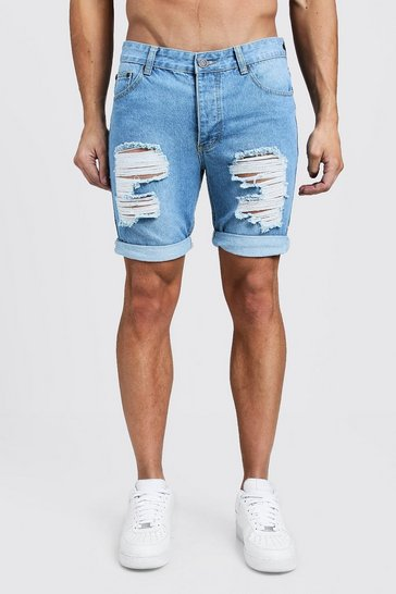 Mens Pale blue Skinny Fit Rigid Denim Shorts with Extreme Rips