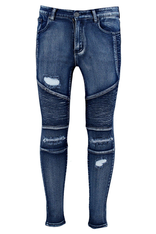 boohoo herren zerrissene schmal geschnittene biker jeans. Black Bedroom Furniture Sets. Home Design Ideas