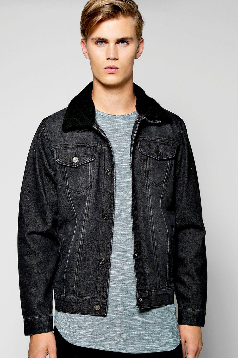 037eb471bead Borg Collar Washed Black Denim Jacket