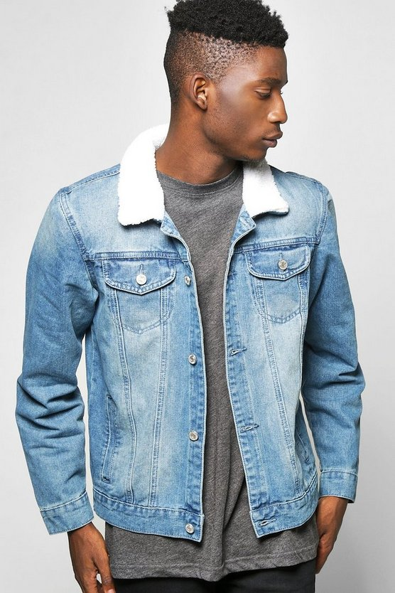 Mens Blue Borg Collar Denim Jacket