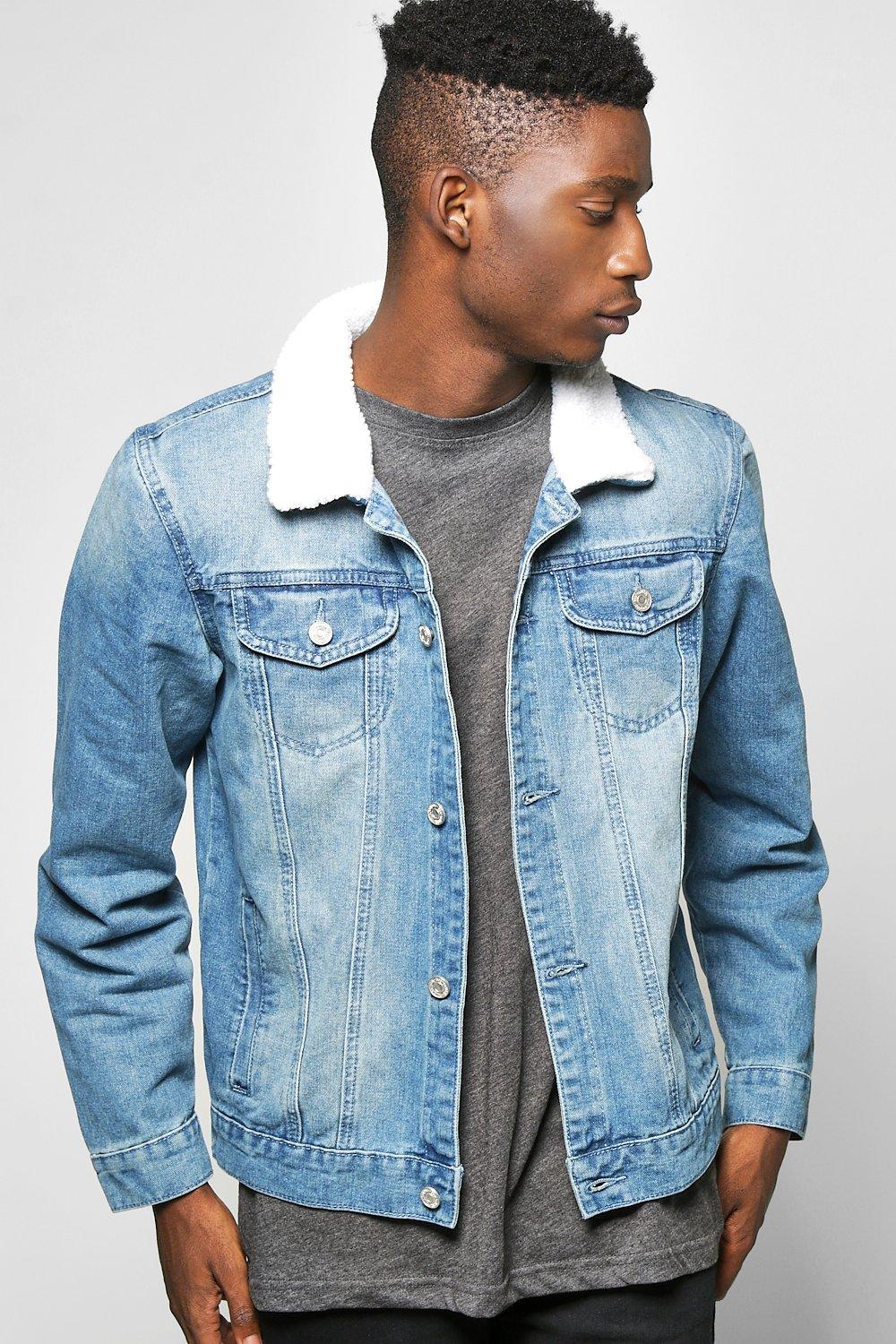 on sale e2561 1a597 Borg Collar Denim Jacket | Boohoo