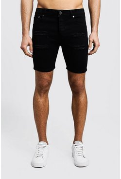 Herr Black Skinny Fit Distressed Denim Shorts