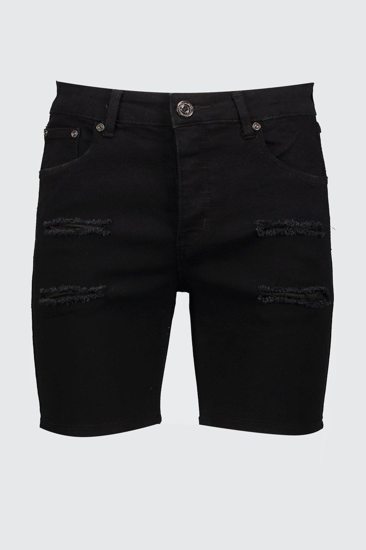 desgastados skinny denim pantalones negro cortos qfv0Z