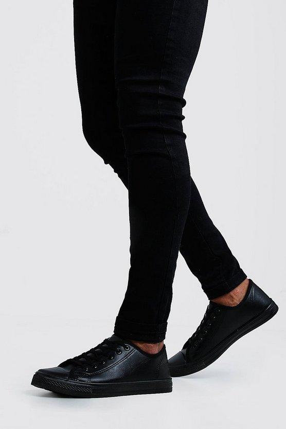 Mens Black PU Plimsolls