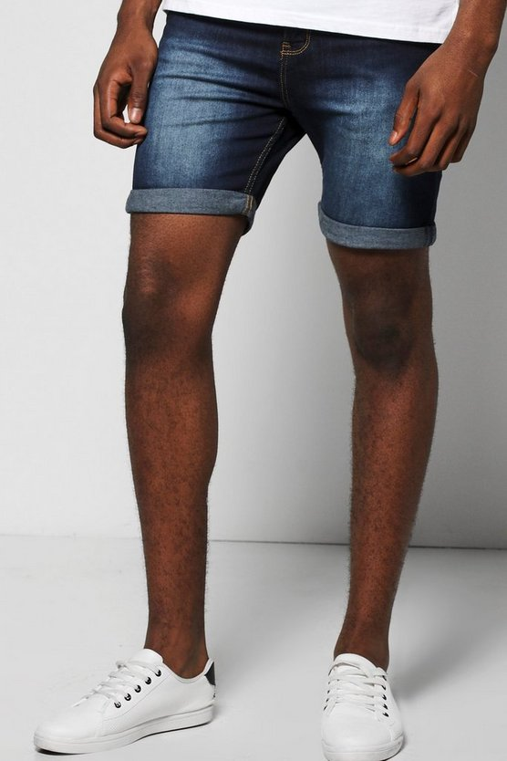 Mens Indigo Skinny Fit Indigo Wash Denim Shorts in Mid Length