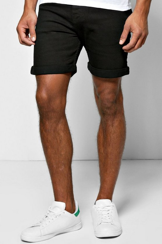 shorts denim skinny negros de largo medio