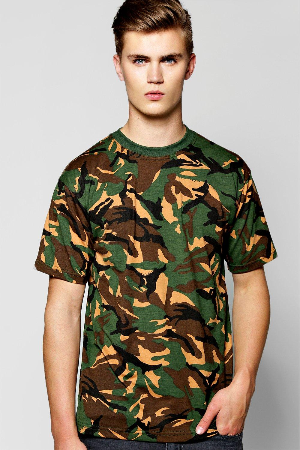 2f75f7107 Mens Khaki Loose Fit Camo Print T-Shirt. Hover to zoom