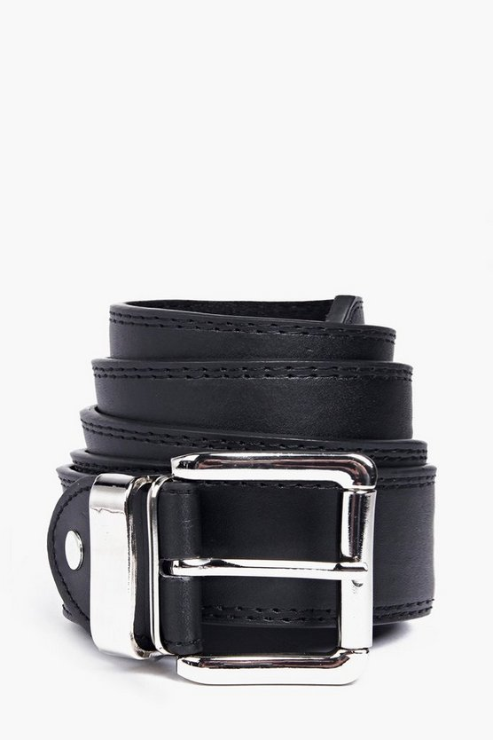 Mens Black Double Stitched Leather Lined Belt