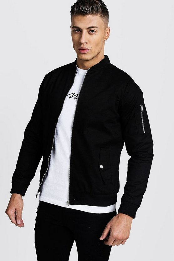 Mens Cotton MA1 Bomber Jacket in Black