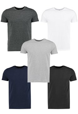 Mens Multi 5 Pack Crew Neck T Shirts in Slim Fit