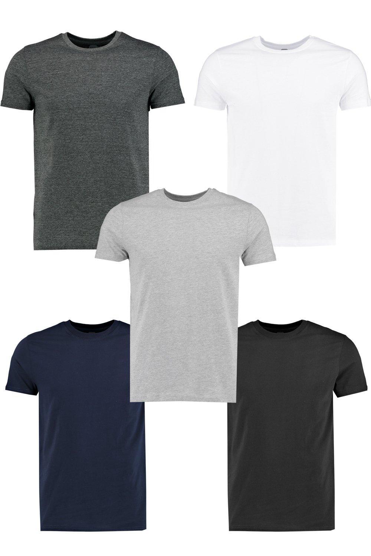 c53b5ad30d3e 5 Pack Crew Neck T Shirts in Slim Fit | Boohoo