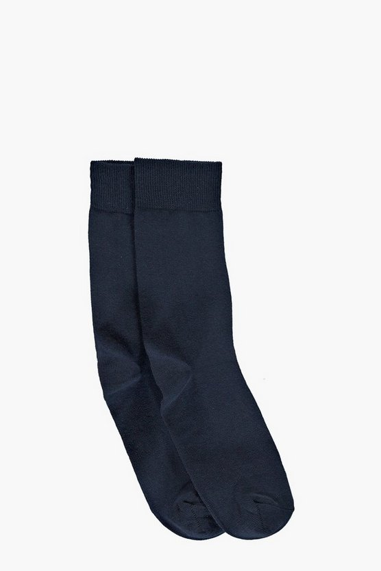 2 Pack Plain Navy Cotton Socks