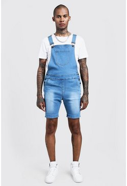 Short salopette en denim coupe slim, Bleu
