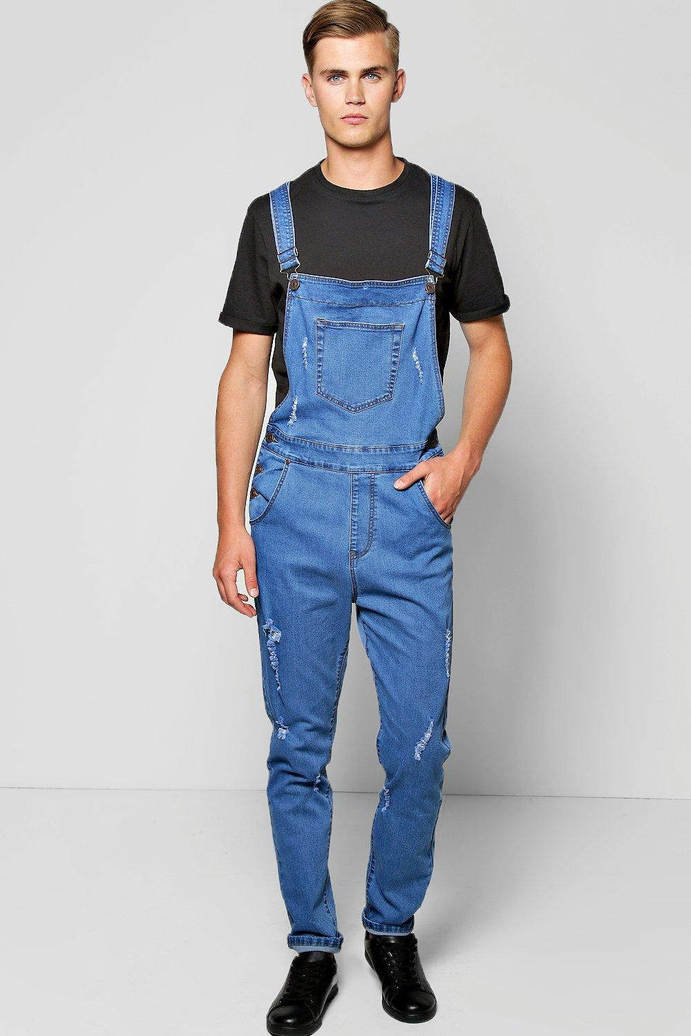 845baa5e16 Slim Fit Denim Dungarees With Rips. Hover to zoom