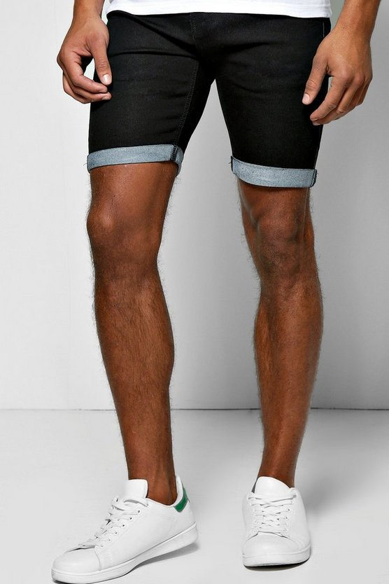 Mens Black Skinny Fit Denim Shorts With Turn Up