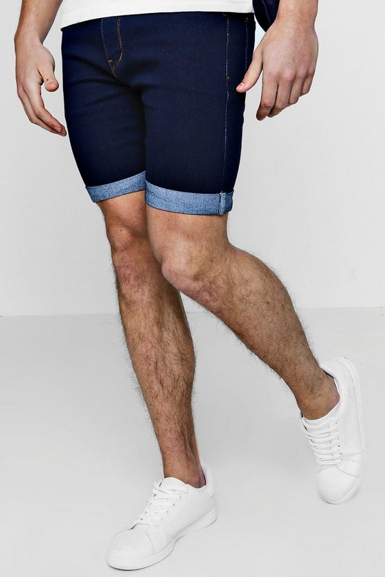 Skinny Fit Indigo Washed Denim Shorts
