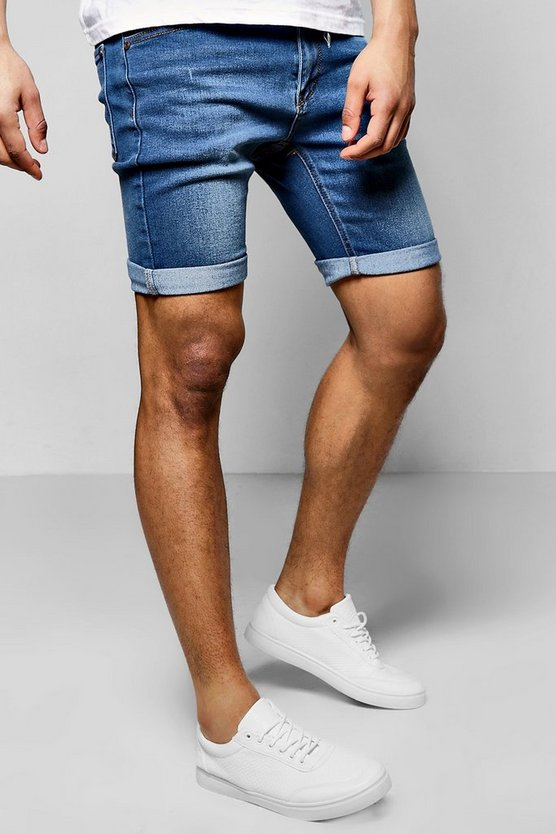 Mens Skinny Fit Blue Washed Denim Shorts