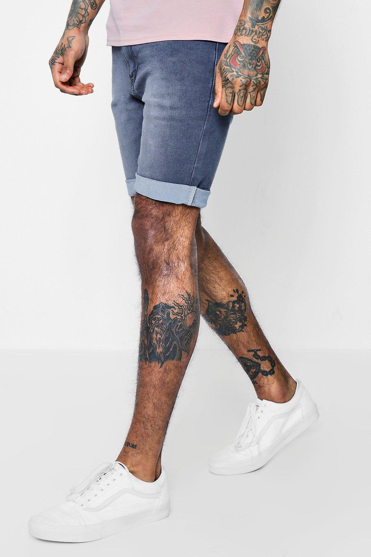 Skinny Fit Charcoal Washed Denim Shorts