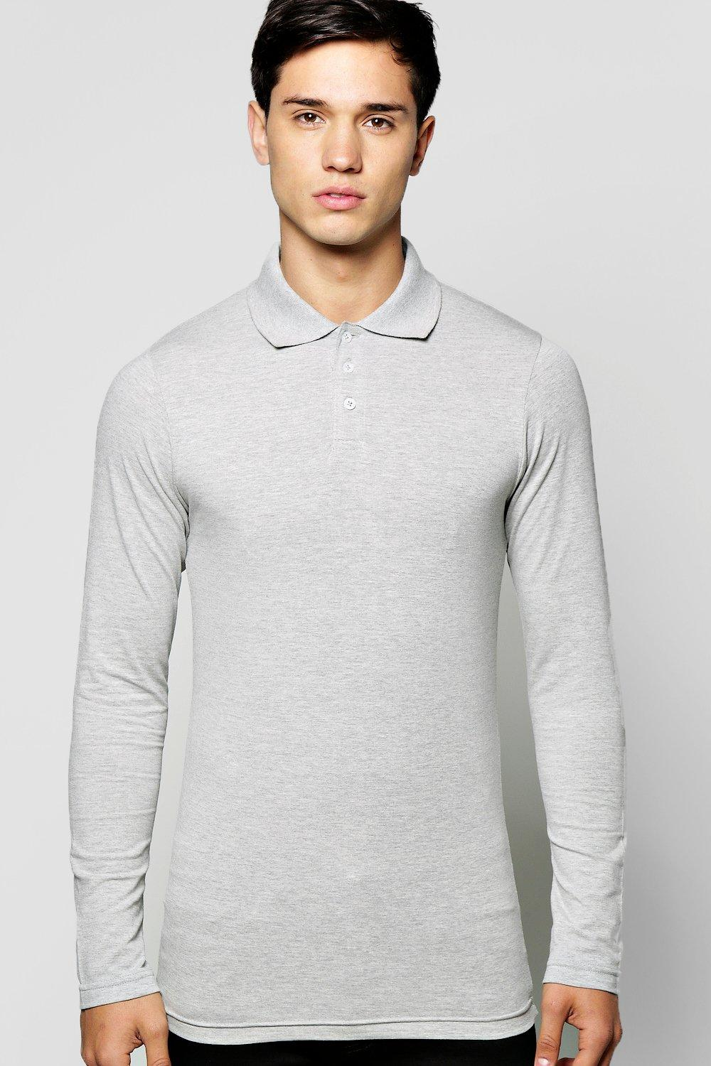 833a17a2 Mens Grey Long Sleeve Muscle Fit Polo. Hover to zoom
