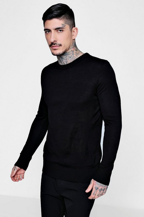 Black Crew Neck Fine Gauge Knitted Jumper