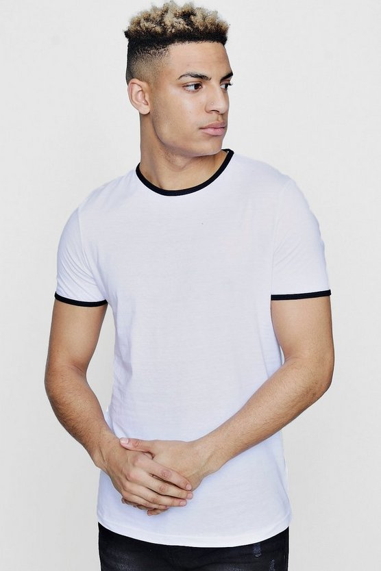 Mens White Crew Neck Contrast Rib T Shirt