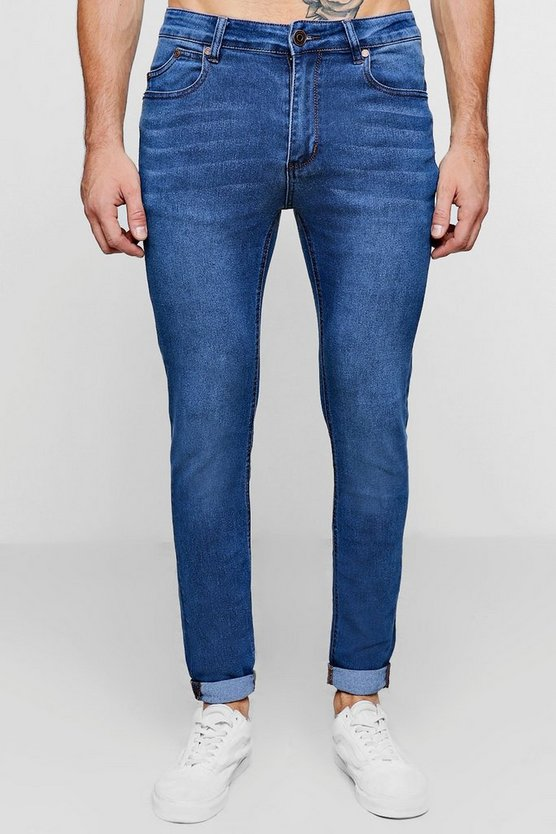 Mens Blue Skinny Fit Washed Jeans