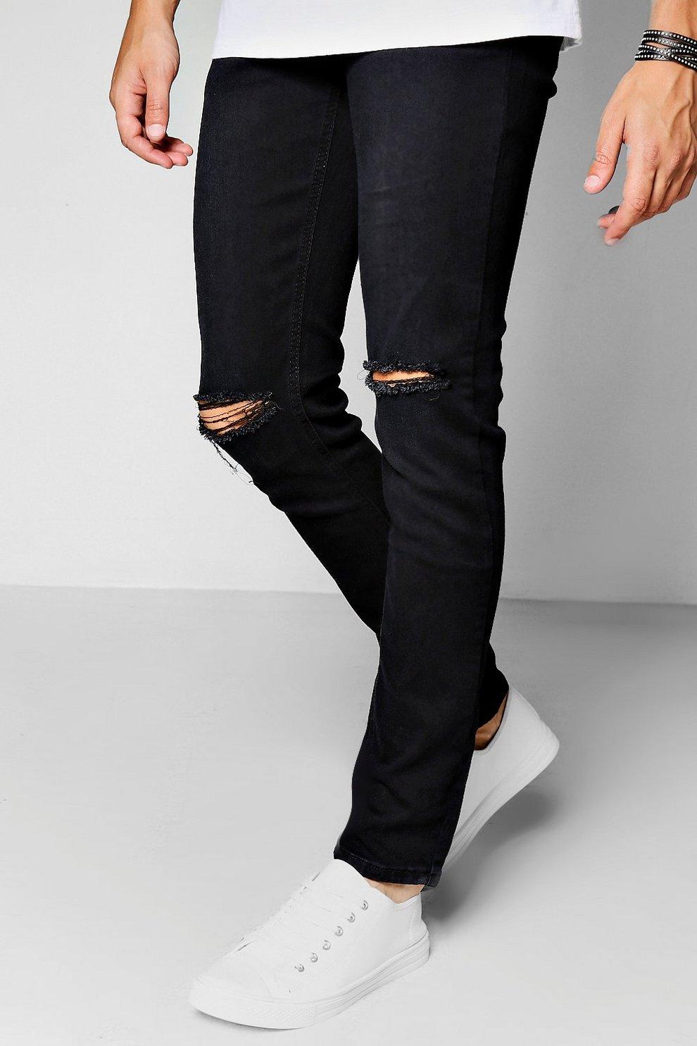 d4522a23f04b4 jean skinny déchiré aux genoux, Noir, Homme