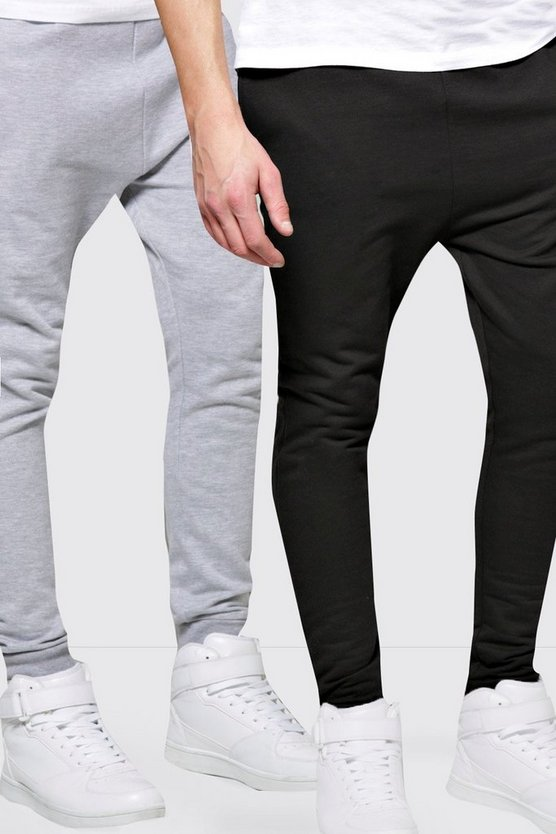 Mens Multi 2 Pack Jersey Joggers in Skinny Fit
