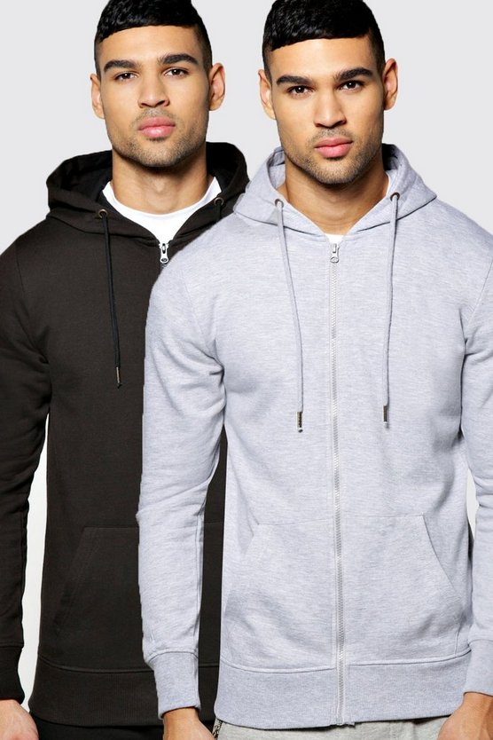 2 Pack Zip Through Hoodies in Regular Fit