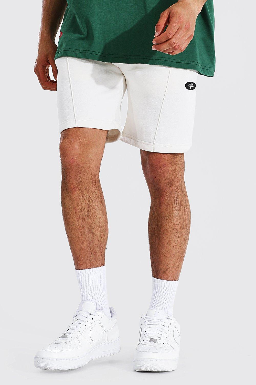 mens cream regular original man pintuck jersey shorts, cream
