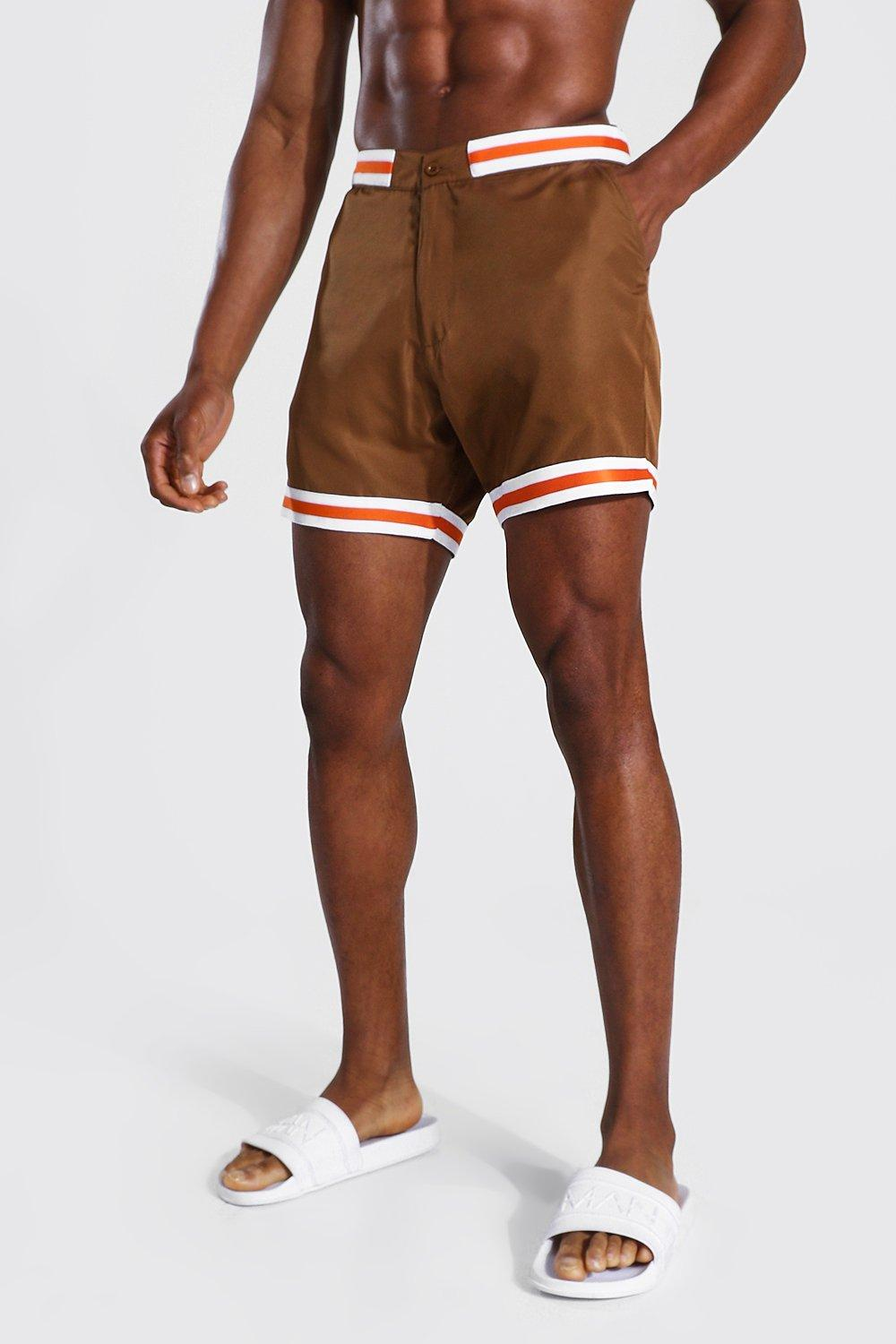 Vintage Men's Swimsuits – 1930s, 1940s, 1950s History Mens Smart Waistband Mid Length Trunkss - Brown $11.00 AT vintagedancer.com