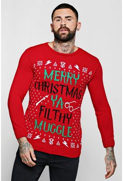 Mens Red Merry Christmas Ya Filthy Muggle Jumper