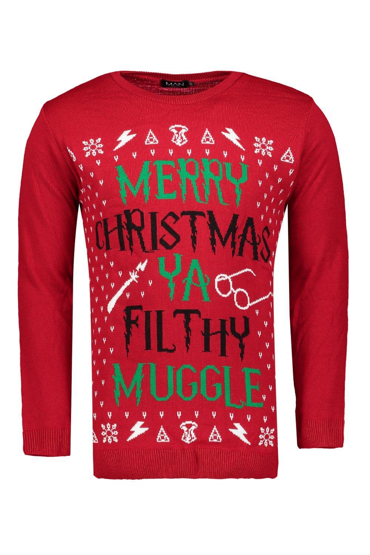 boohoo mens merry christmas ya filthy muggle jumper