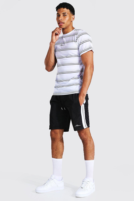 mens white man stripe t-shirt & tricot short set, white