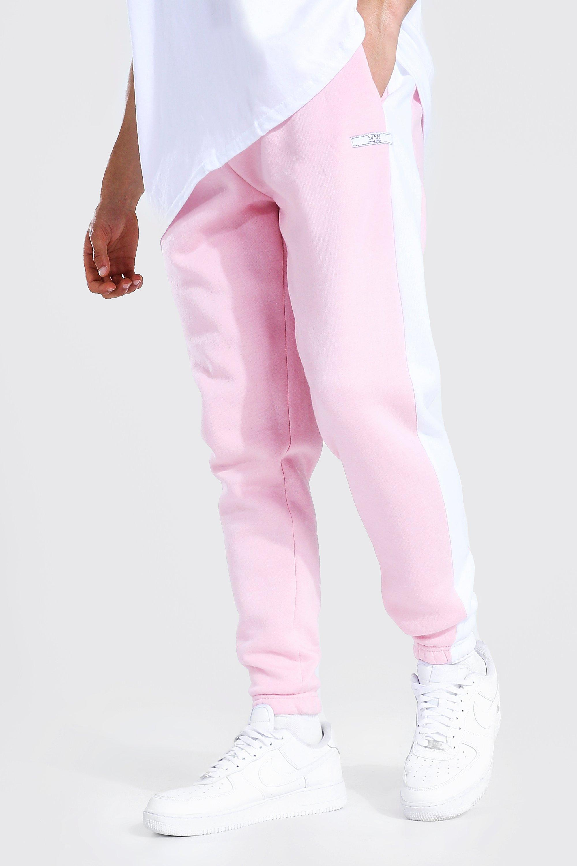 mens pink slim fit original man side panel joggers, pink
