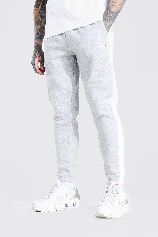 mens grey slim fit original man side panel joggers, grey