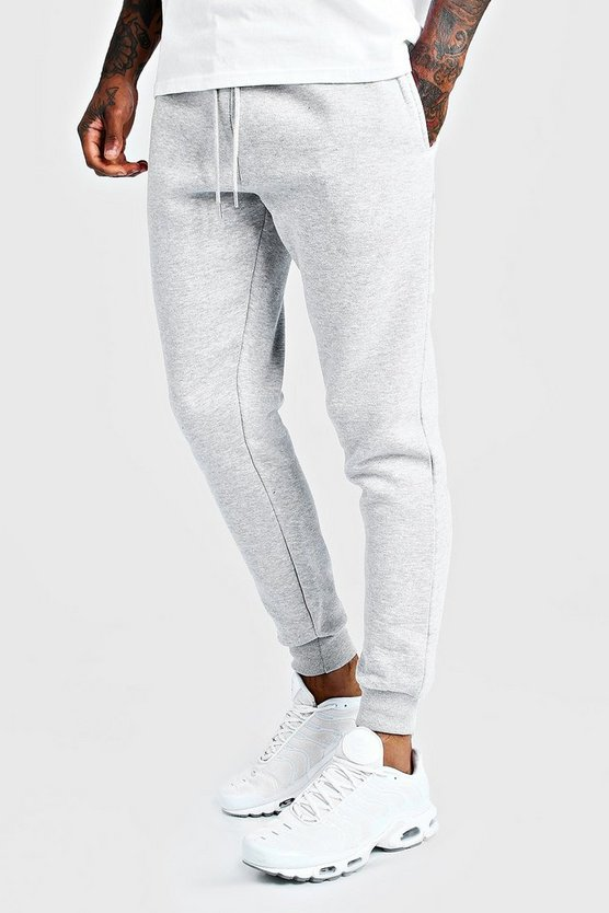 Mens Grey Basic Skinny Fit Joggers