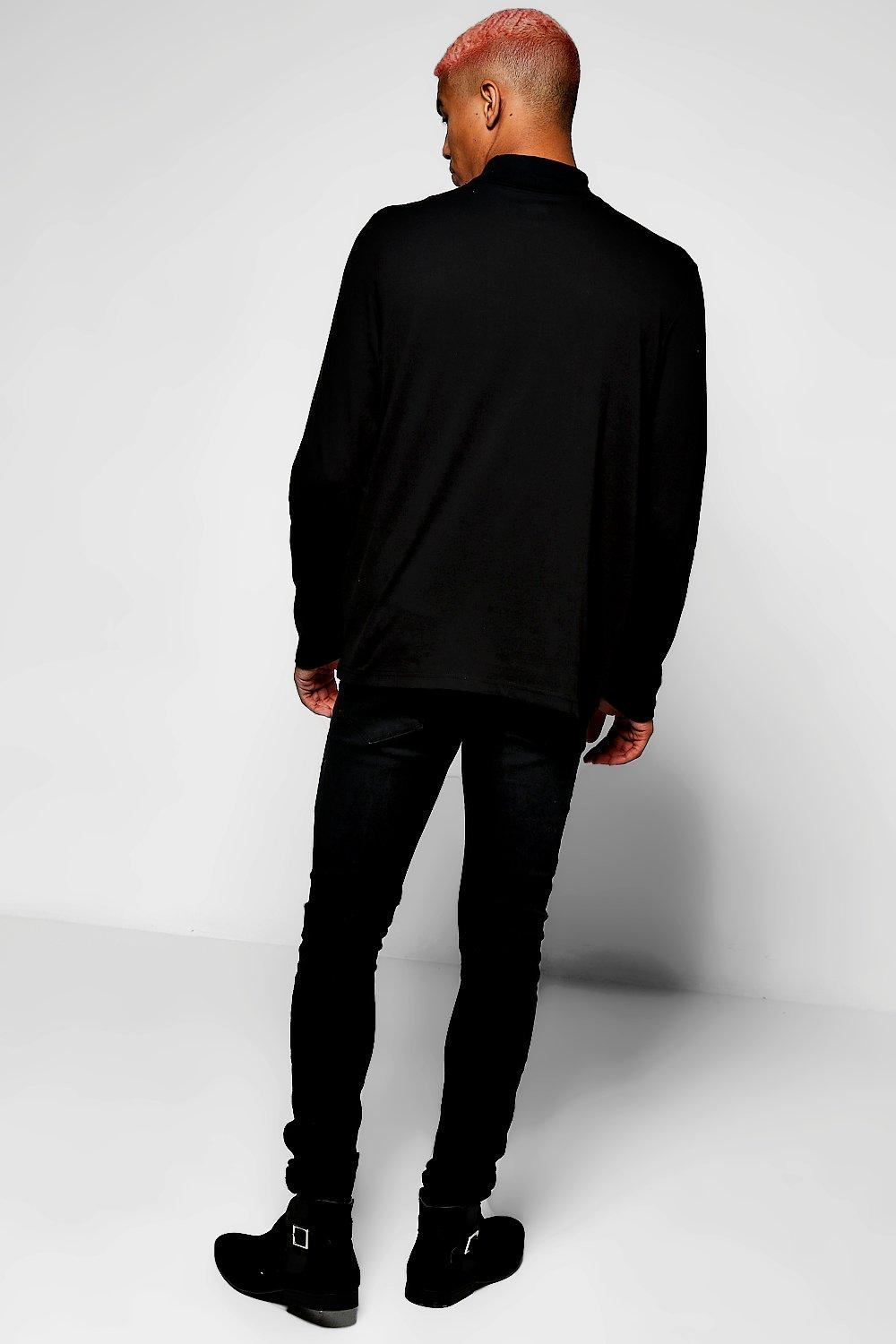 boohoo t shirt manches longues col roul serr pour homme ebay. Black Bedroom Furniture Sets. Home Design Ideas