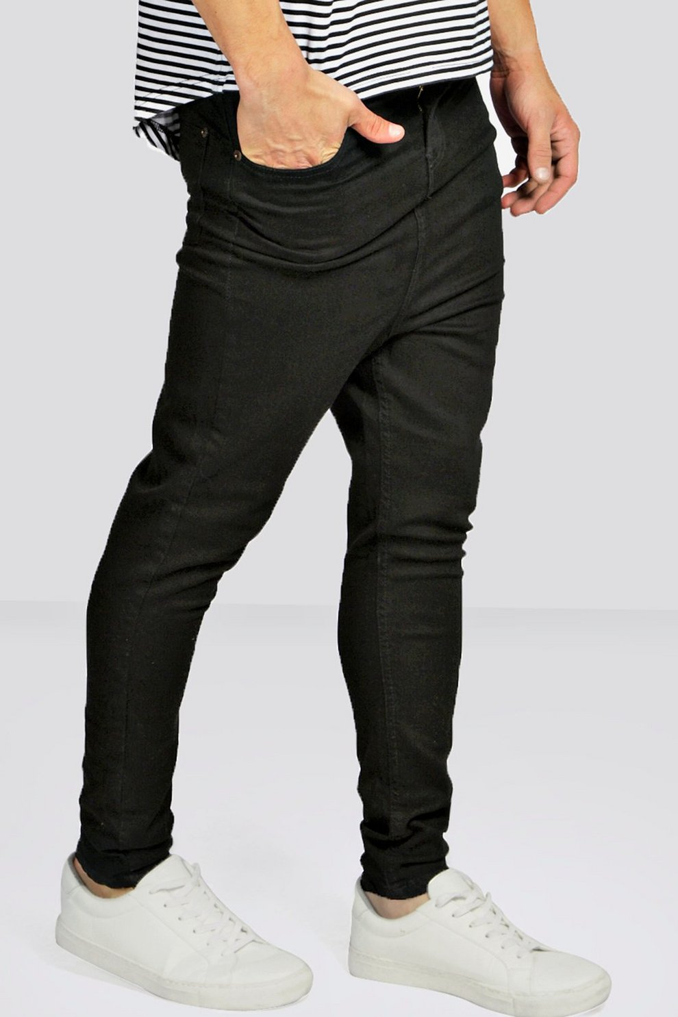 ded6deed0ce742 Drop Crotch Skinny Black Jeans | Boohoo