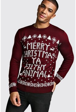 Mens Wine Merry Christmas Ya Filthy Animal Jumper
