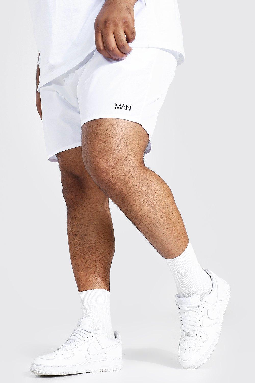 mens white plus size man dash swim short, white