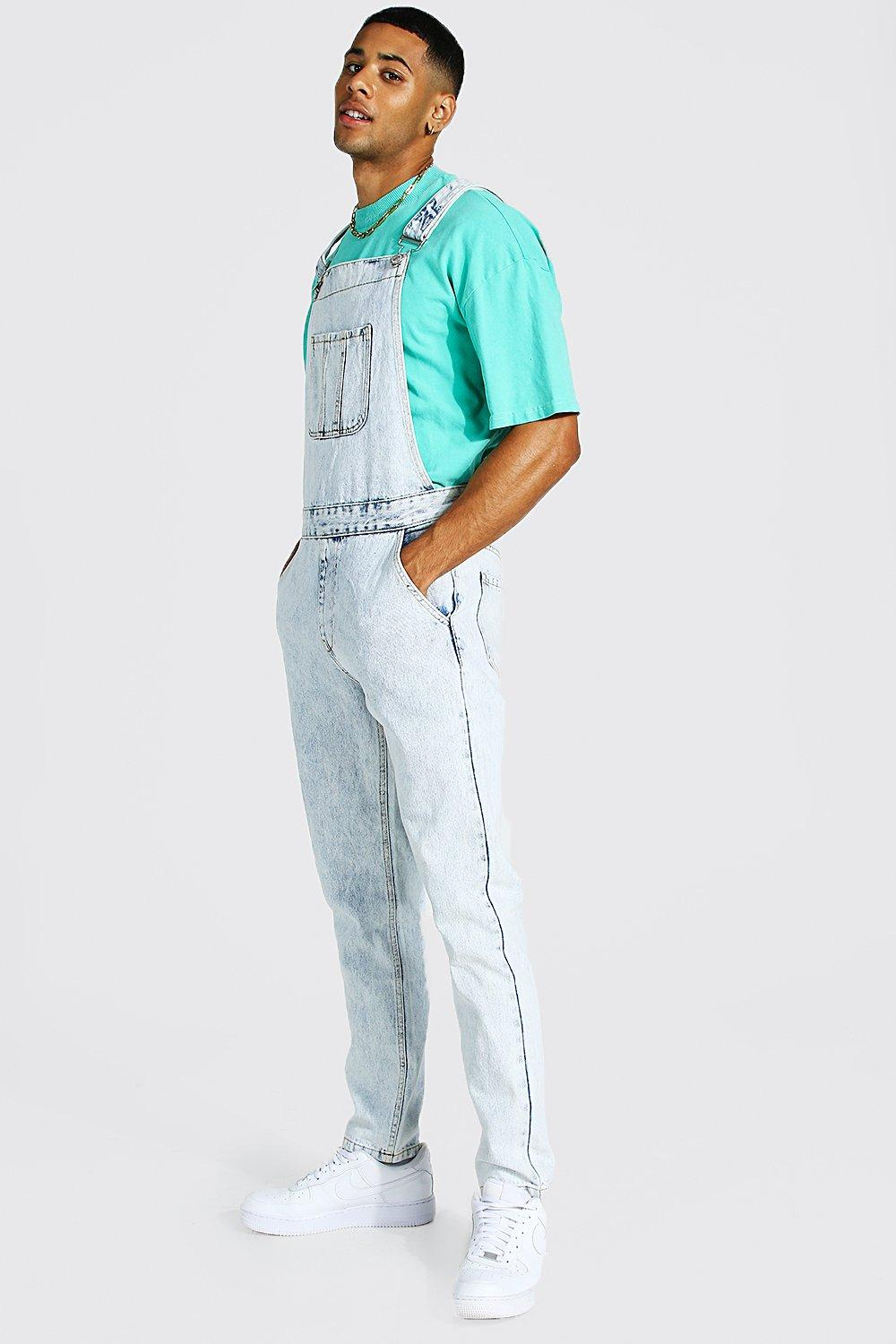 90s Outfits for Guys | Trendy, Party, Cool, Casaul Mens Slim Rigid Long Dungaree - Blue $33.00 AT vintagedancer.com