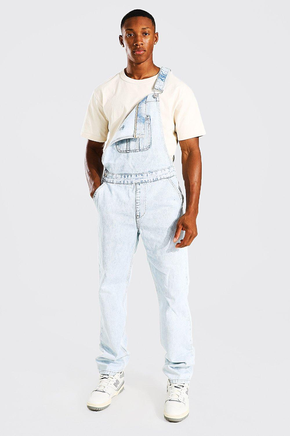 90s Outfits for Guys | Trendy, Party, Cool, Casaul Mens Relaxed Fit Long Dungaree - Blue $33.00 AT vintagedancer.com