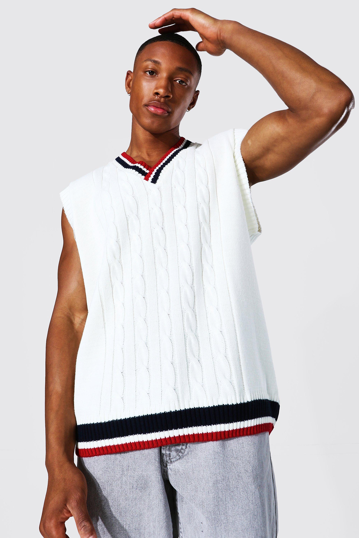1920s Style Mens Vests Mens Varsity Basic Knitted Tank Top - Cream $19.20 AT vintagedancer.com