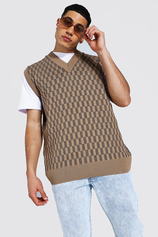 1920s Style Mens Vests Mens Knitted V Neck Oversized Flannelerboard Tank Top - Beige $18.00 AT vintagedancer.com