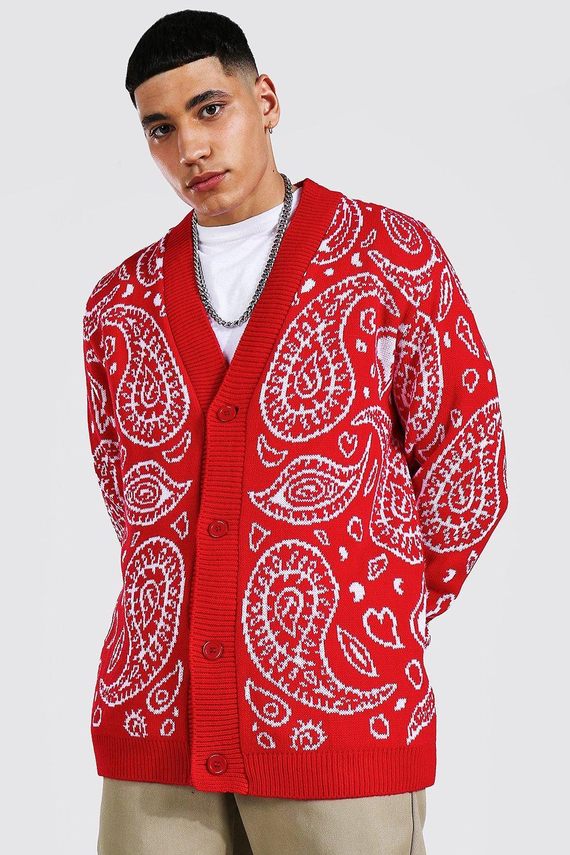 1950s Men's Clothing Mens Bandana Knitted Cardigan - Red $16.00 AT vintagedancer.com