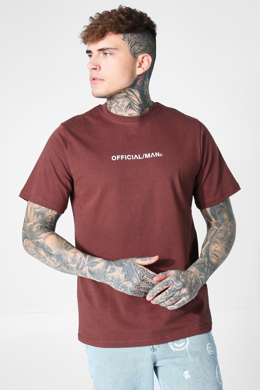 mens brown man official crew neck t-shirt, brown