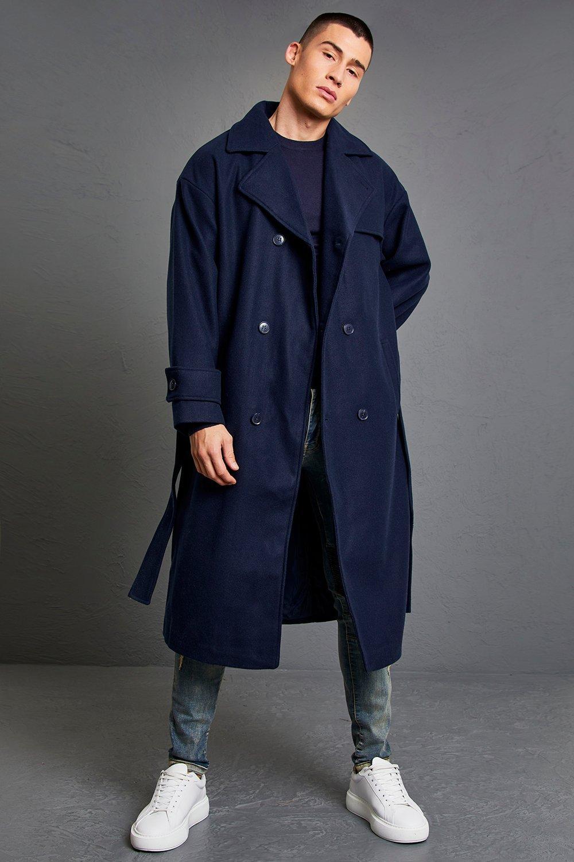 Men's Vintage Jackets & Coats Mens Double Breasted Storm Flap Trench Overcoat - Navy $57.00 AT vintagedancer.com