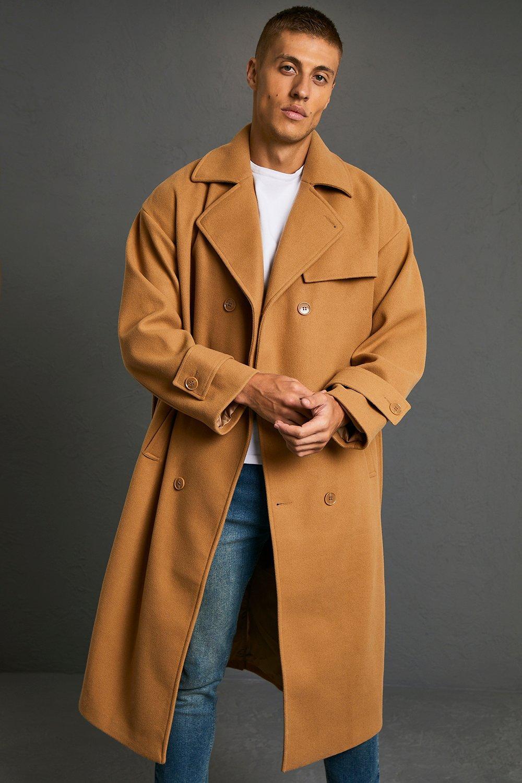 50s Men's Jackets | Greaser Jackets, Leather, Bomber, Gabardine Mens Double Breasted Storm Flap Trench Overcoat - Beige $57.00 AT vintagedancer.com
