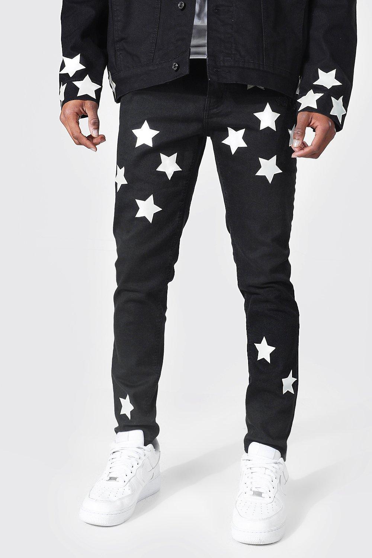 Men's Vintage Pants, Trousers, Jeans, Overalls Mens Skinny Stretch Pu Star Jeans - Black $27.00 AT vintagedancer.com